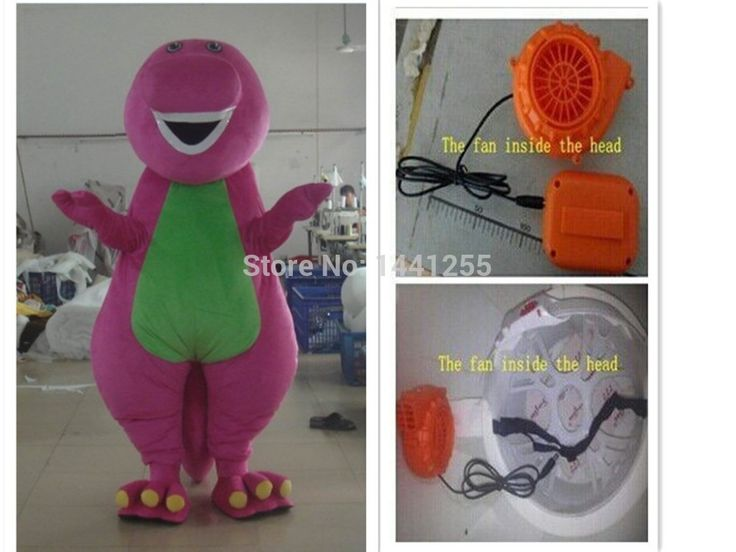 High quality Adult Barney Cartoon Mascot Costumes on Adult Size Fast  Shipping