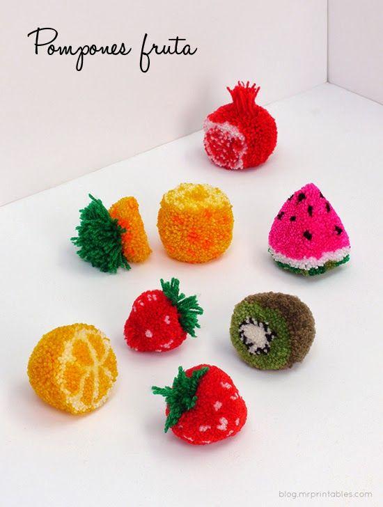 ♥ La Casita de Reich ♥: Pompones con forma de fruta-NOT IN ENGLIS