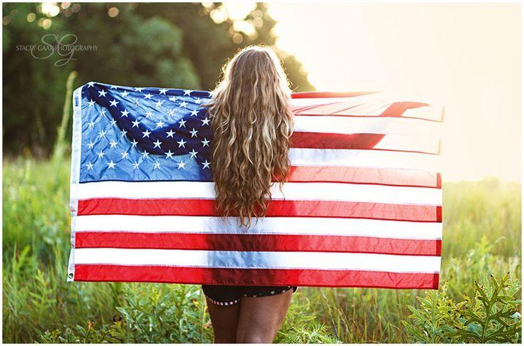 Senior Session   Stacey Gaar Photography,  High School senior portrait, American Flag, 4th of July, America, patriotic, Senior Portrait Shoot, senior girl