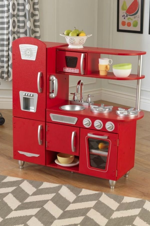 Gorgeous Vintage Retro Play Kitchen Comes In A Soft 50s Style Pink As Well This Fabulous Red Affiliate Kidsrooms Playkitchen