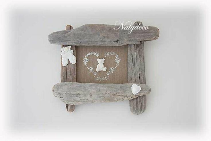 cadre bébé en bois flotté  cadres  natydeco  Fait Maison Cadre futur chamb