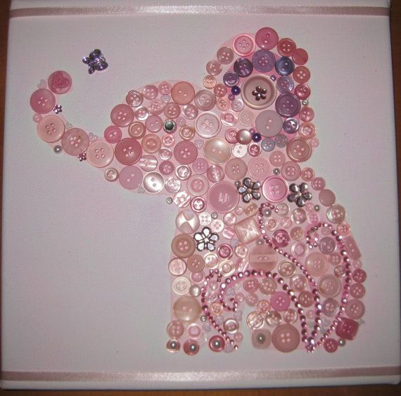 Pink Elephant button canvas art  by Coushi Creations on Etsy