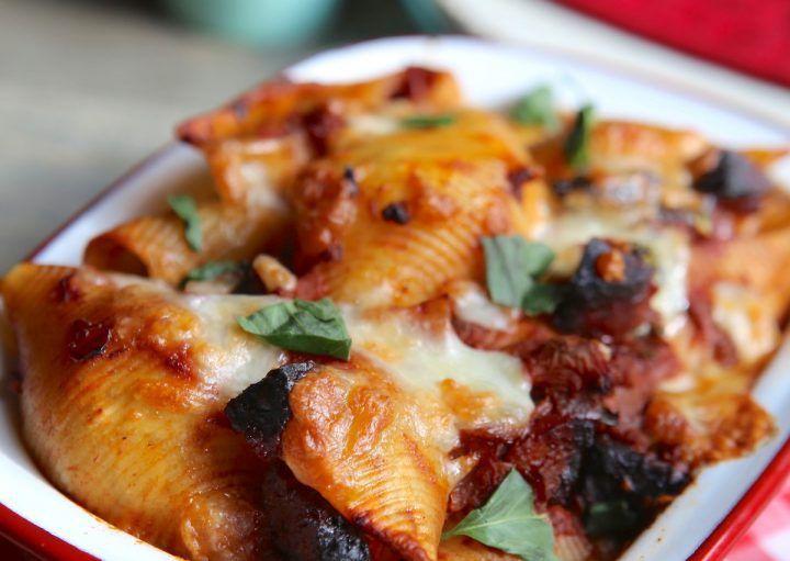Gratin de pâtes au chorizo et mozzarella