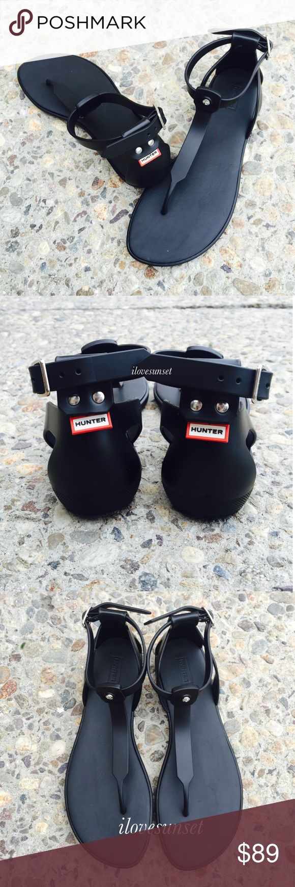 ✨✨{Hunters Boots} Black Thong Rubber Sandals Super cute, sold out everywhere. Brand new, never been worn. Size 9 US, 7 UK, MADE IN ITALY. Price is firm.   ❌ NO TRADES - SELLING ON POSH ONLY ❌ ❌ NO LOWBALLING ❌  ✅ Bundle Discounts ✅ Ship Next Day of Purchase   % AUTHENTIC Hunter Boots Shoes Sandals
