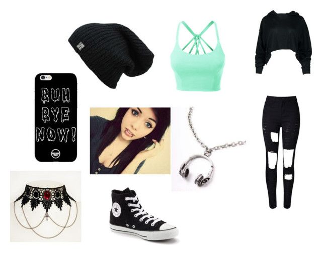 """""""Saturday Outfit Lazy outfit"""" by zyelycia on Polyvore featuring WithChic, LE3NO and Converse"""
