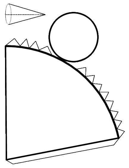 Copia esta plantilla del cono en un papel, cartulina o cartón.