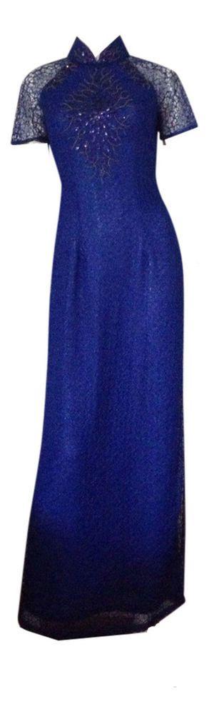 Udesignwecustomize Vietnamese Traditional Dress Ao Dai Chiffon Blue #Udesignwecustomize #Tunic #Formal