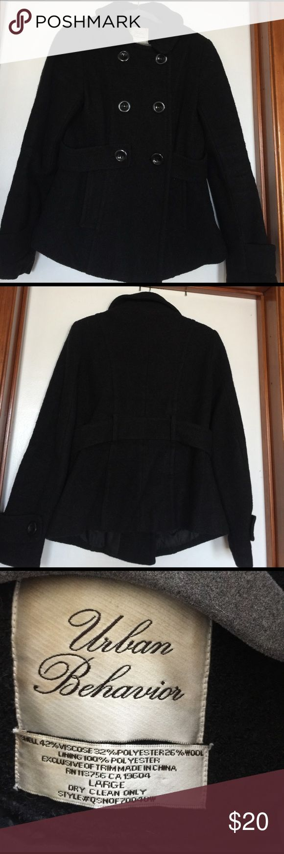 Black pea coat very warm Urban Behavior black pea coat urban Behavior Jackets & Coats Pea Coats