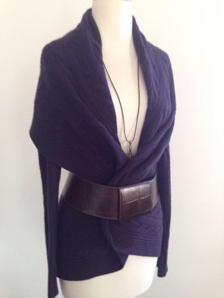 RALPH LUAREN Black Label Cashmere Purple Cross Cable Knit Shawled Cardigan S #RalphLaurenBlackLabelCashmere #Cardigan