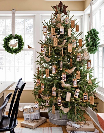gift tag ornaments, tea-stained or old paper, can glue pics & stamp names on them for each member of the family