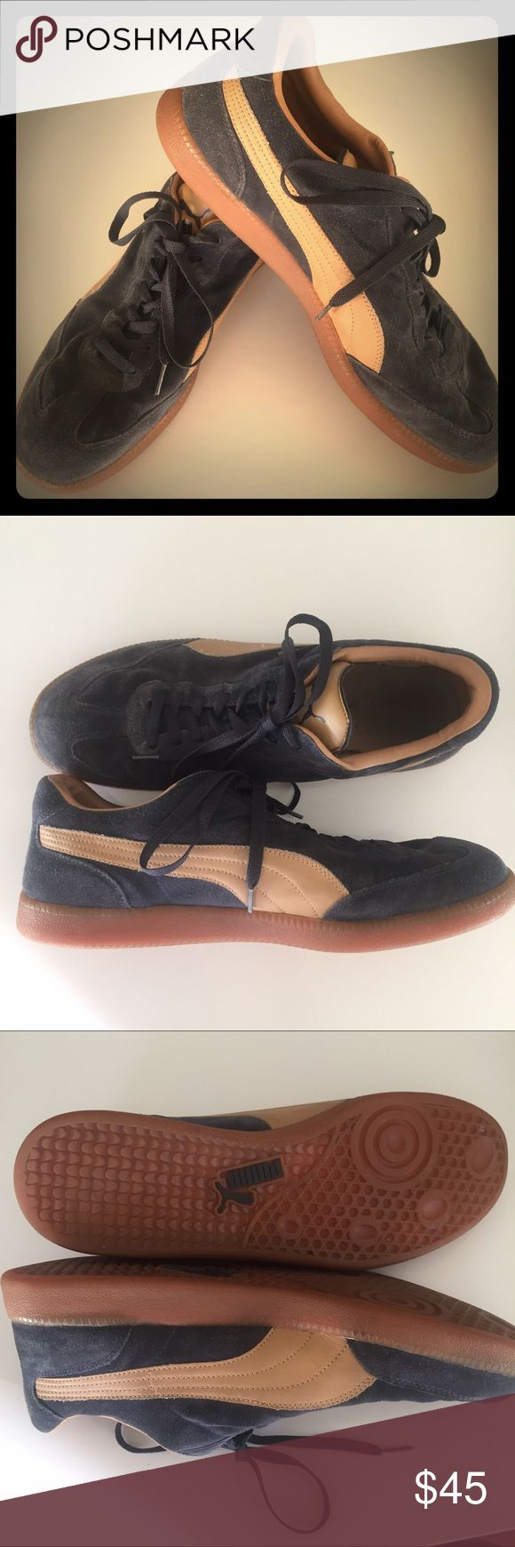 Puma Liga Men's Suede Sneakers Who doesn't need blue suede shoes?!  Suede with tan leather swipe.  Sturdy rubber soles.  One trip to the cobbler and these will look new! Puma Shoes Sneakers