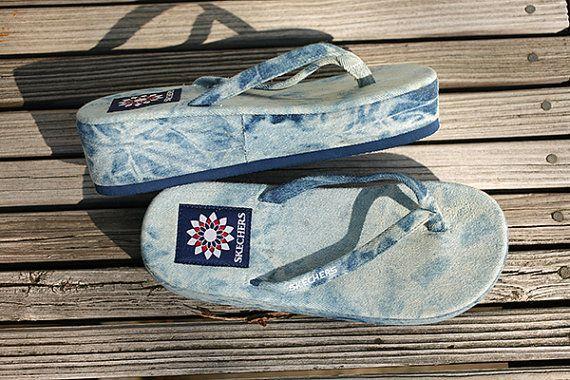 Denim Sketchers, Platform Flip Flops, Sandals - Size 75 -6143
