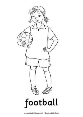 football girl colouring page - Football Colouring Sheet