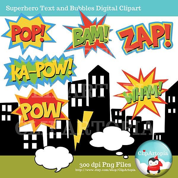 Superhero Text and Bubbles clipart comic book by ClipArtopia
