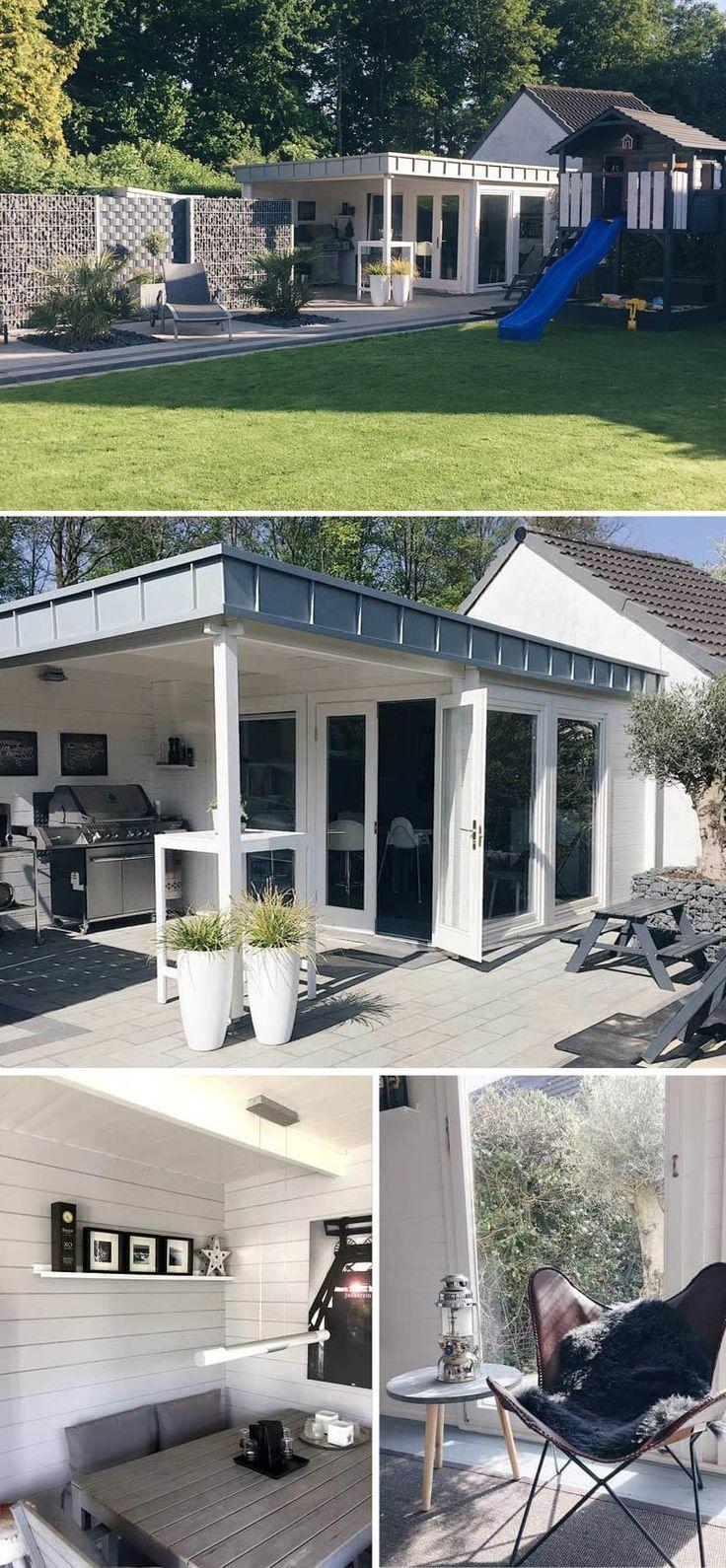 Unser Kunde Familie K. entschied sich für das Design Gartenhaus Avantgarde-44 ISO. Das moderne Gartenhaus ist farblich perfekt durchgestylt und glänzt mit einer individuellen Dachgestaltung, wie es sie nur selten gibt. Erfahren Sie mehr über den Aufbau, die Einrichtung und die interessanten Details des weißen Gartenhauses mit Flachdach.