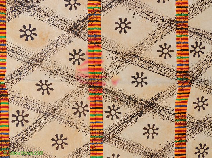 Adinkra Stamped Cloth Asante Ghana Large Africa 11 X 6 Feet   African  Textiles