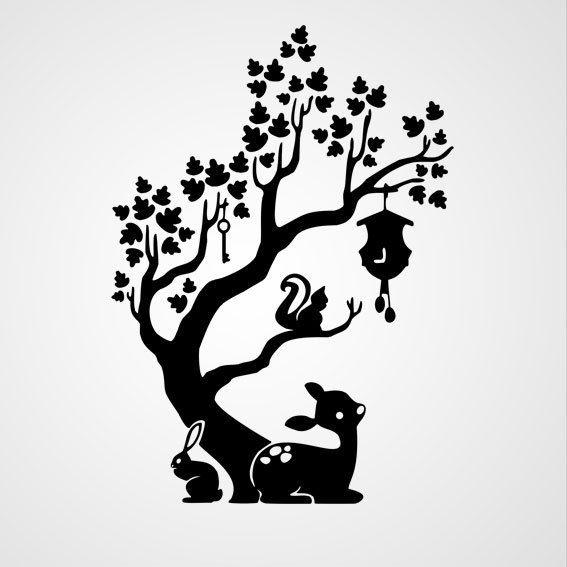 Boom met dieren - Dewiha Art - Muursjablonen en Muurstickers