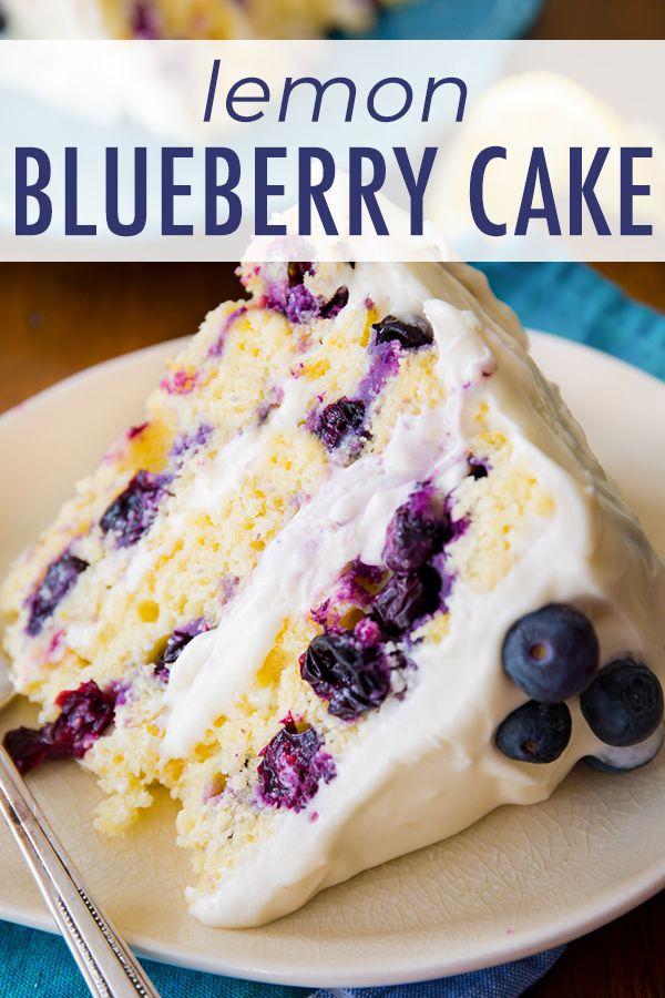 Sunshine-sweet lemon blueberry layer cake dotted w…