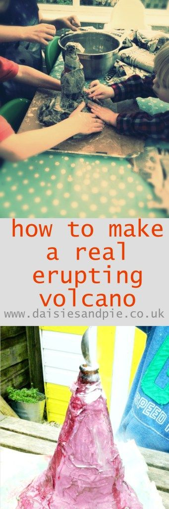 how to make an erupting volcano, paper mache volcano, paper mache crafts for kids, science activity for kids, erupting volcano project