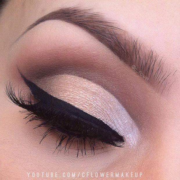 Matte Brown Cut Crease Makeup Look for Brown Eyes