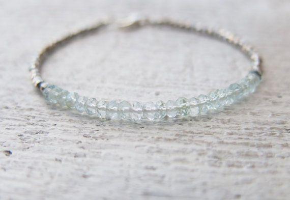 Aquamarine bracelet, aquamarine faceted rondelle bracelet, sterling silver  round beads. Minimalist aquamarine bracelet.