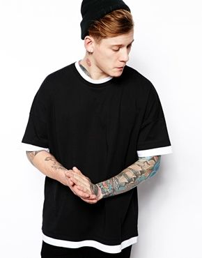 ASOS T-Shirt With Double Layer Effect And Oversized Drop Shoulder Fit