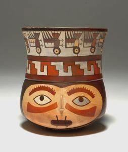 Vessel in the Shape of a Trophy Head Nasca, Early Intermediate Period 350-450 CE