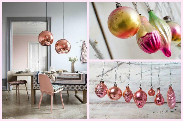 Deko zu Weihnachten in Farbe Rose Quartz
