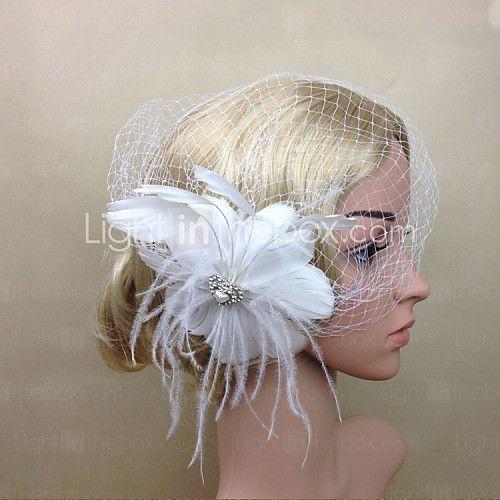 Women Feather/Net Bride White Flower Tassel Flowers/Birdcage Veils With Wedding/Party Headpiece - USD $13.99