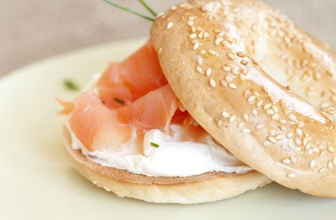 This American-style bagel is filled with with cream cheese and smoked salmon   Tesco