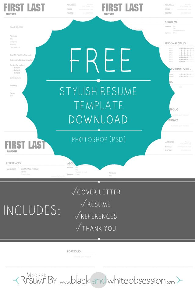 Chic and Polished Resume Template + Free Photoshop Download | http://www.blackandwhiteobsession.com/