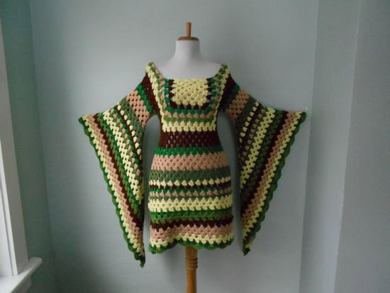 Vintage 1960s 1970s Hand Knit Crochet Angel Bell Sleeve HIPPIE Green Brown & Yellow MiDi Mini Afghan Dress by trash5thave on Etsy