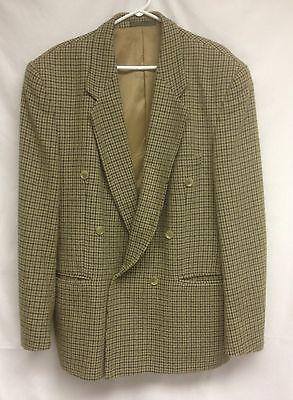 Mens-Blazer-Double-Breast-54R-Tweed-Wool-Coat-VTG-Elegant-Fashion-Olive-Bulgaria