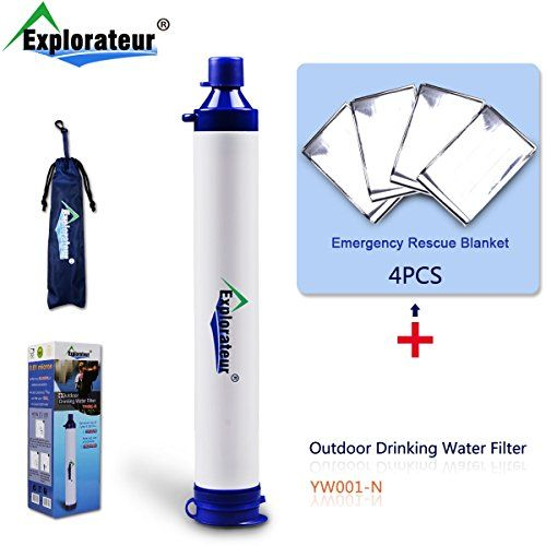Explorateur Convenient Portable Personal Outdoor Water Purifier Filtration Straw Tube for Camping Traveling Hiking Emergency Survival  Expeditionary KitEquipment 4x Rescue Blankets Per Pack * Check this awesome product by going to the link at the image.
