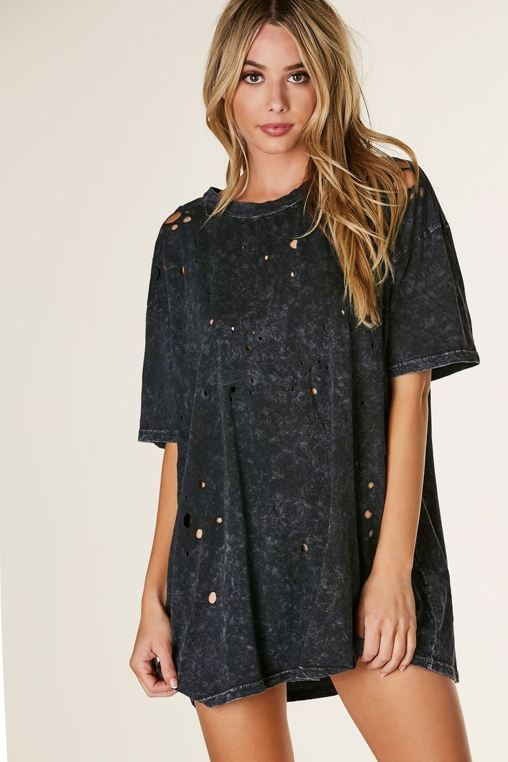 Basic crew neck T-shirt dress with comfortable oversized fit. Distressing throughout with mineral wash finish.