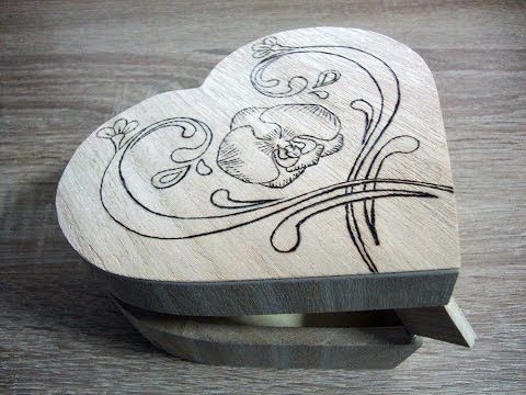 Wood burning (Pyrography) heart jewelry box - YouTube