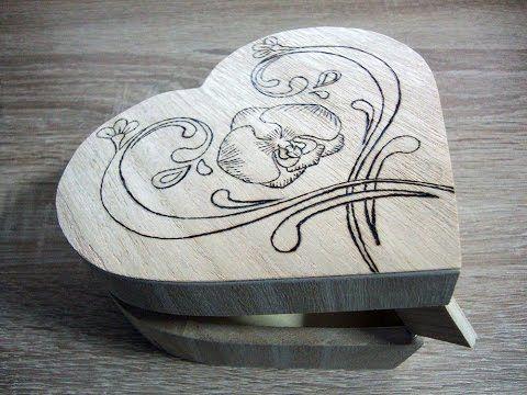 Wood burning (Pyrography) heart jewelry box - YouTube