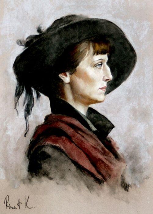 Р. Курамшин. Портрет Анны Ахматовой. Да, я любила их, те сборища ночные,- На…
