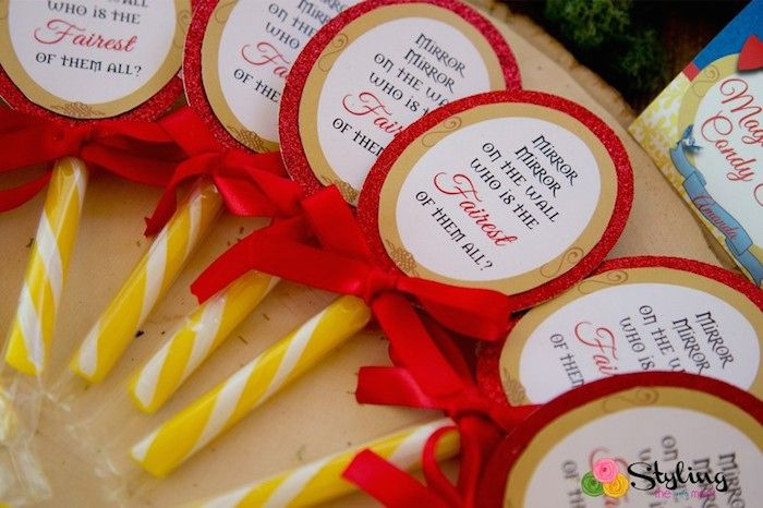 Rustic Glam Snow White Birthday Party via Kara's Party Ideas : Mirror Sweets Favours