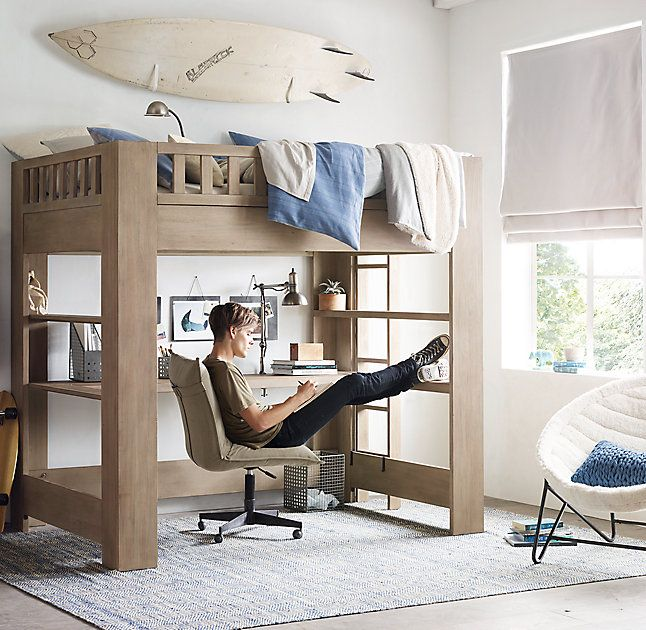 RH TEEN's Callum Full Loft Study Bed:Sleep on it. Defined by its clean, contemporary lines and sturdy frame, our Callum collection is artisan crafted and hand finished for an authentically time-worn appearance.