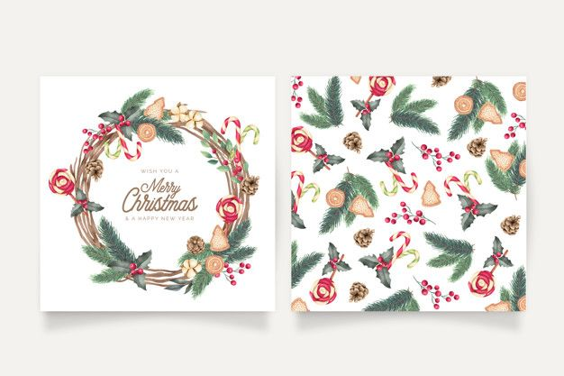 Watercolor Christmas Card Templates Free Vector Freepik Freevector Watercolor Christmas Cards Christmas Card Template Christmas Card Templates Free