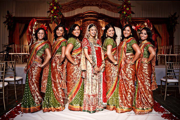green and red bridesmaids sari