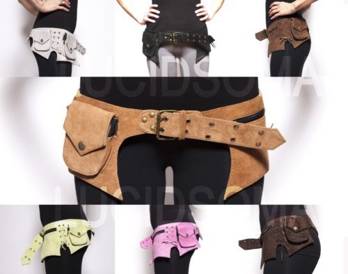 Hip-Handmade-Suede-Waist-Pack-Bag-Party-Style-Belt-Utility-Pouch-psy-rave-new