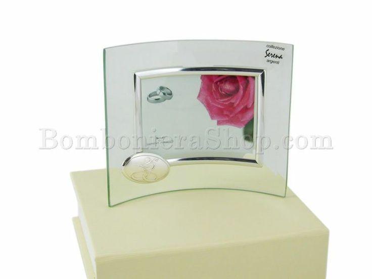 Portafoto onda nozze argento in vetro e laminato argento