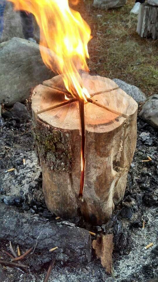 Swedish flame. Cut like cake.leave 6 inches at base. Add one cap fuel oil in middle. Light.