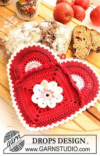 Heart potholder ~ free pattern ᛡ