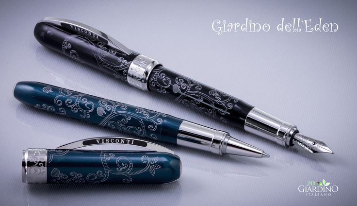 Visconti Giardino dell'Eden: Limited Edition 100 pieces in teal and 100 pieces in black, in total of fountain pen and roller.  Celebrating the 20th anniversary of online sales
