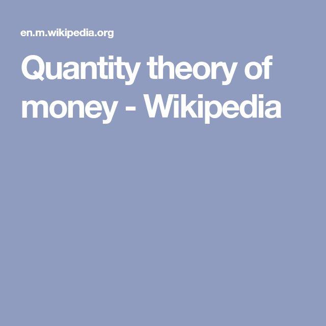 Quantity theory of money - Wikipedia