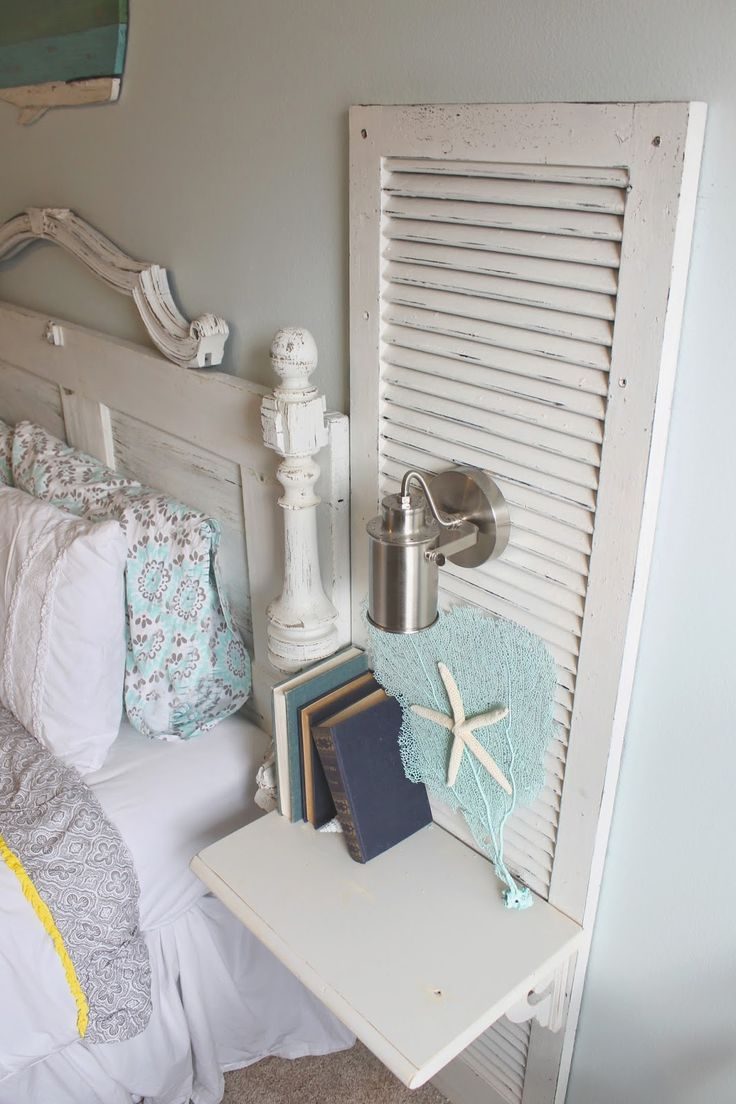 "Tutorial, The ragged wren : Antique Door Headboard & Shutter Nightstands ""How-To"""