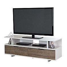 Reflekt TV Stand with Drawers, for TVs up to 60 inches, Weathered Oak and Pure White